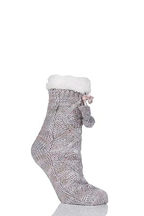 totes Ladies Chunky Knit Pom Pom Socks