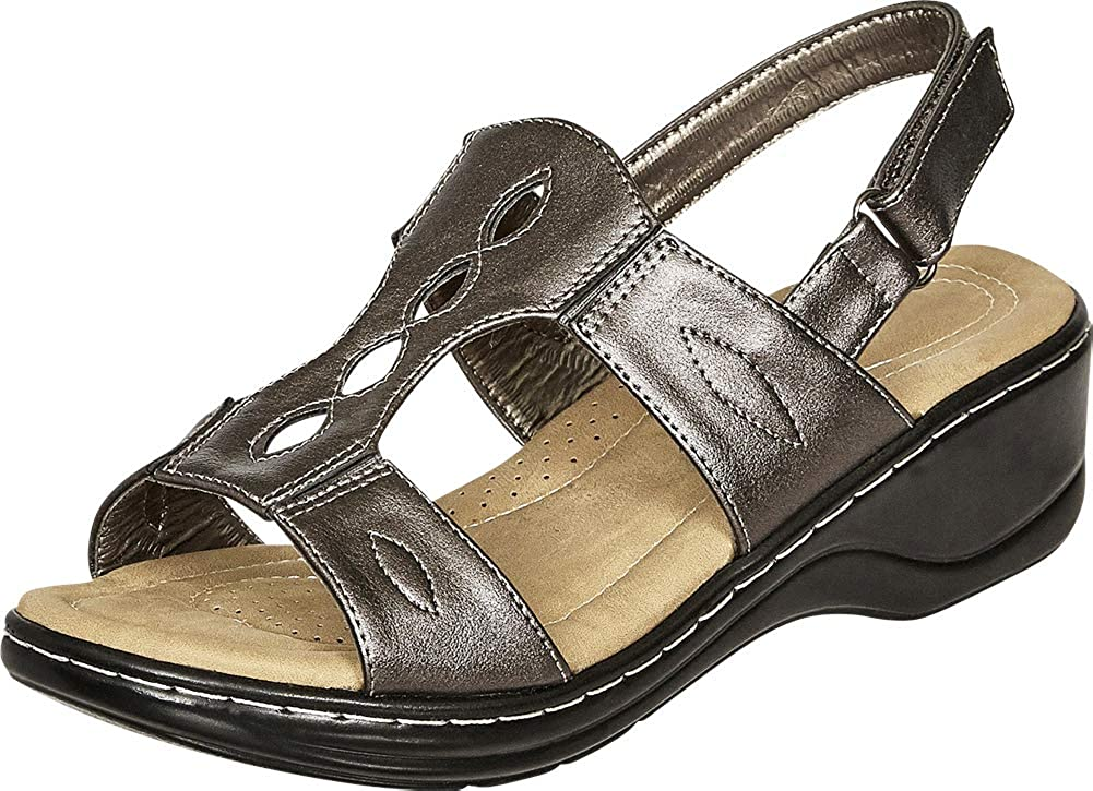 Pewter Pu Cambridge Select Women's Open Toe Cutout Slingback Comfort Low Wedge Sandal