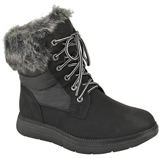 Womens Flat Winter Faux Fur Ankle Cuff Ankle Boots Shoes Size