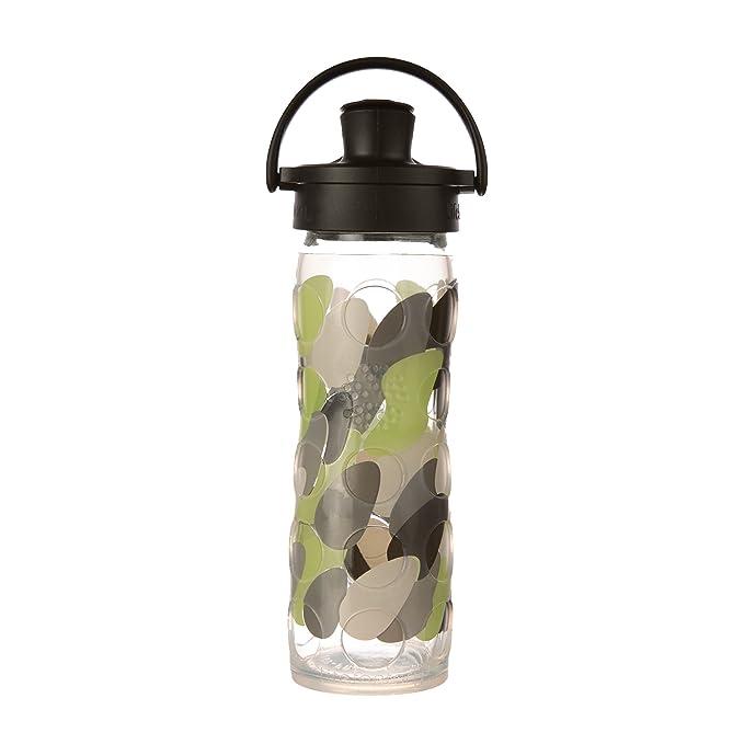 Lifefactory Botella de agua de vidrio sin BPA de 12 onzas con tapa ...