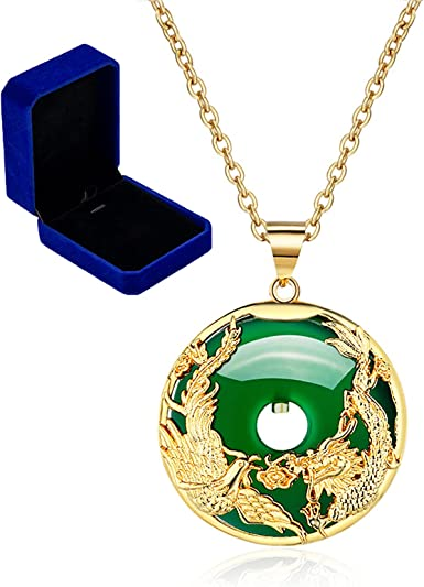 with adjustable necklace. Jade man and woman pendant