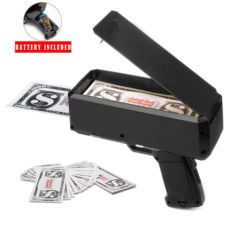 Wowok Black Money Gun Super Money Guns Paper Playing Spary Money Gun Make it Rain Toy Gun with Play Money & 9V Batteries Cash Gun for Game Party Supplies