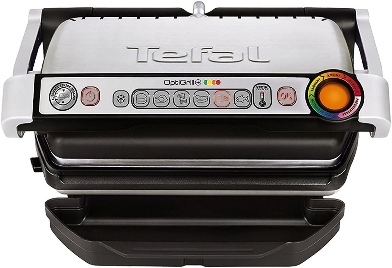 Tefal Optigrill GC712D12 - Plancha Grill 2000 W, 6 modos de cocción y 4 temperaturas ajustables con indicador del progreso, sensor de grosor, bandejas extraíbles y desmontables aptas para lavavajillas