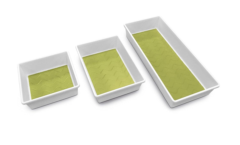 Addis Premium Tidy Drawer Soft Base Storage Boxes, White Green, Set of 3 517613