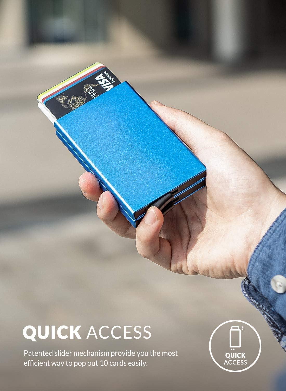 Double - Red VULKIT Credit Card Holder RFID Blocking Slim Card Wallet Pop up Card Case Aluminium for Men or Women