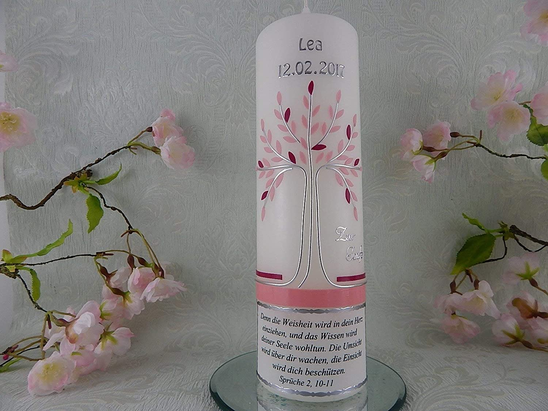 Taufkerze Lebensbaum rosa silber mit Taufspruch Taufkerzen für Mädchen