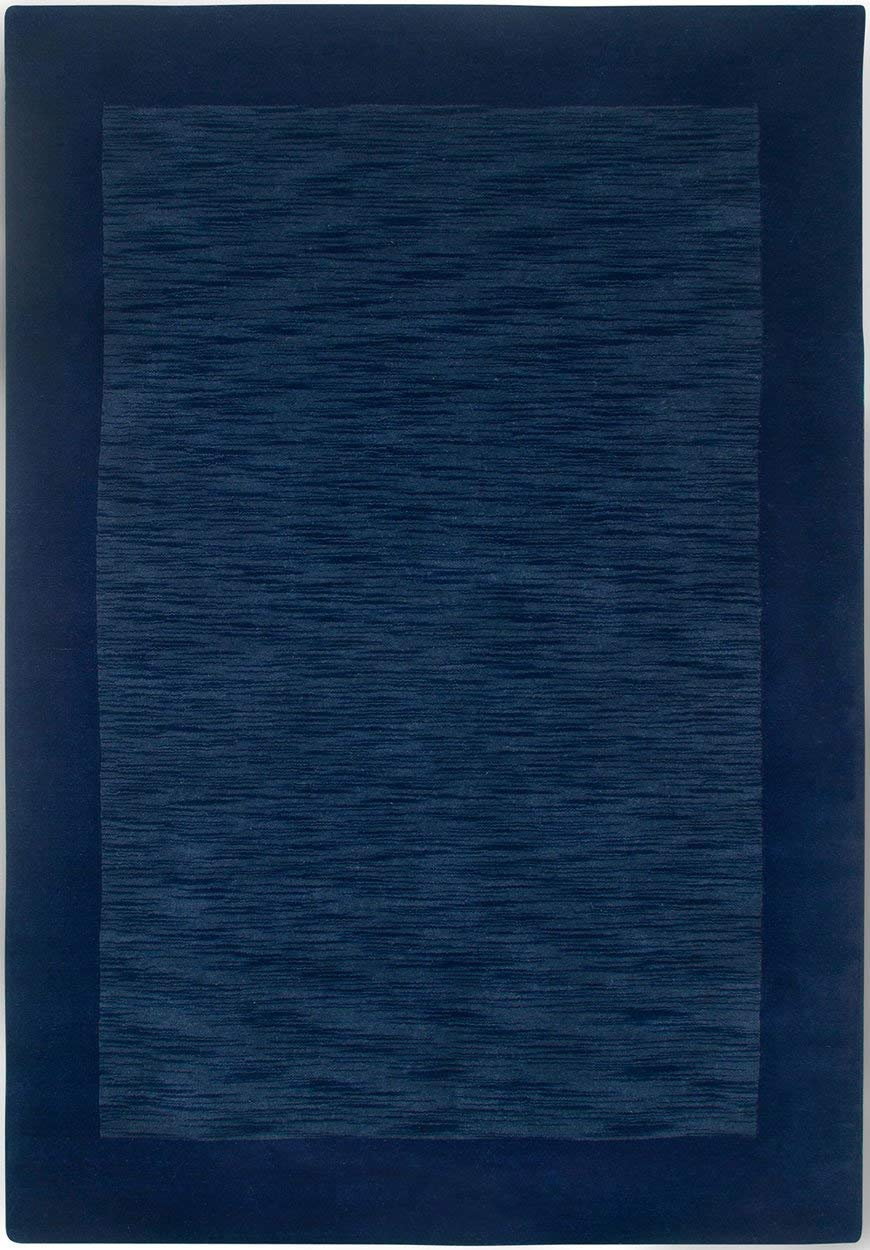 Rizzy Home Platoon Collection Wool Area Rug, 3 x 5 , Blue Navy Boarder