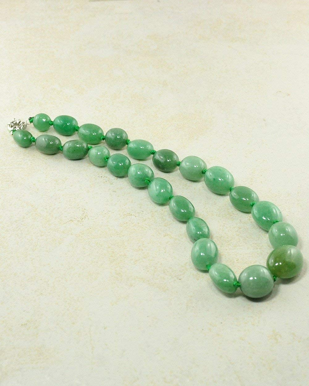 SIVALYA Green Aventurine Large Crystals Necklace with Silver Clasp Genuine Chunky Natural Stones