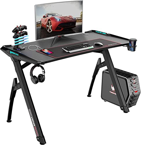 Bossin Gaming Desk Y-Shaped 47 PC Game Table Office Workstation Home Computer Desk with RGB LED Lights USB Gaming Handle Rack Cup Holder Headphone Holder for Gamer Black-1