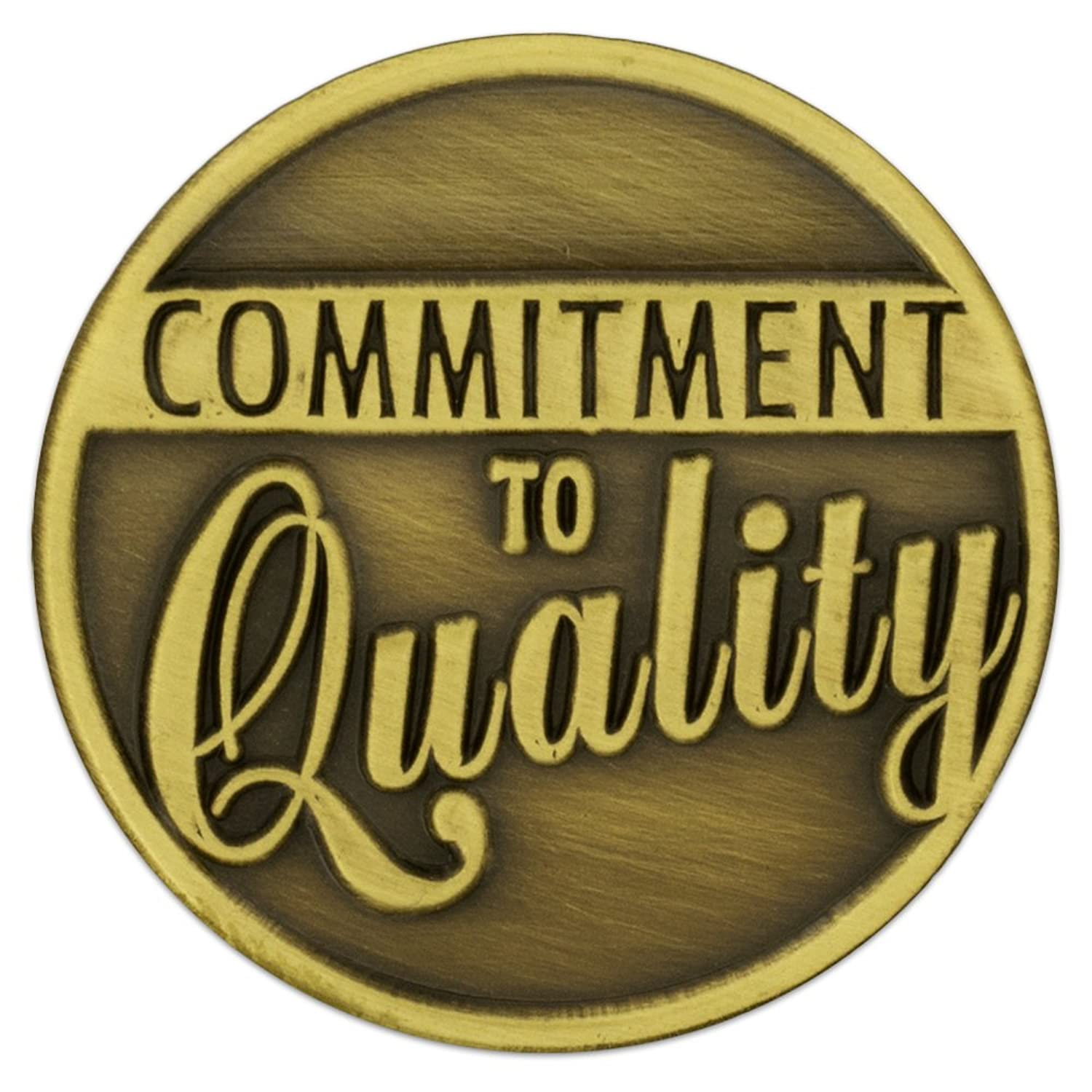 PinMart Antique Bronze Commitment to Quality Corporate Lapel Pin