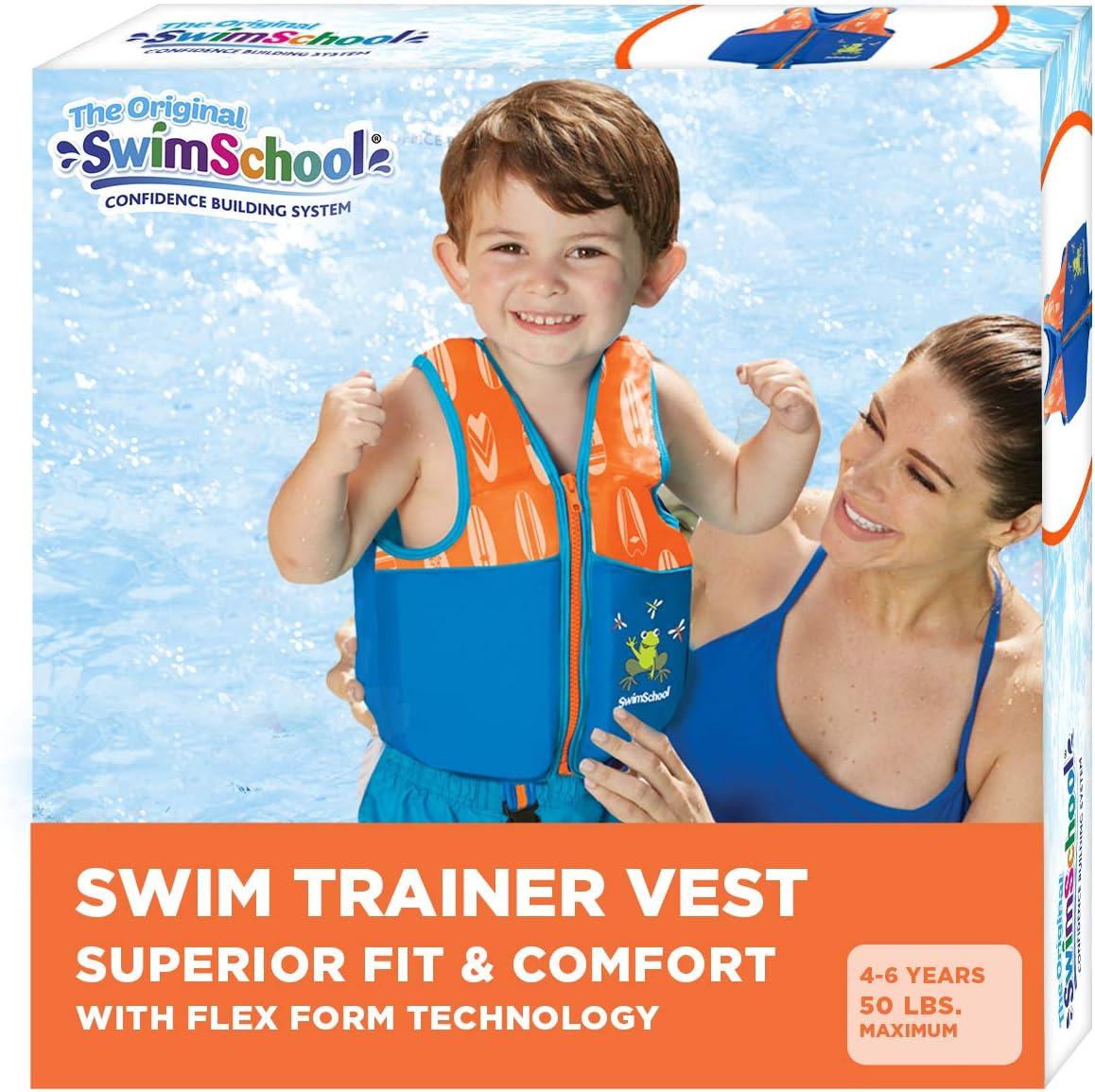 New Improved Swim Trainer Vest, Flex-Form Design, Padded Shoulders and Adjustable Safety Strap, Easy On & Off, Medium/Large, Up to 50 Lbs., Blue/Orange (AZV18863ML-Parent)