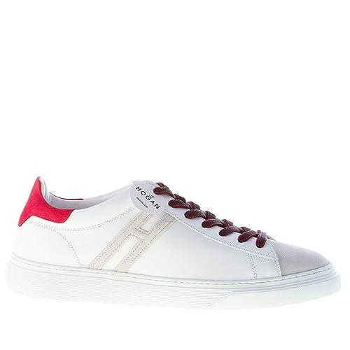 Hogan sneaker h340 in pelle da bambino colore bianco rosso