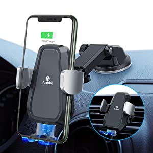 2020 Andobil Qi Wireless Car Charger Mount, Hands Free Auto Clamping10W Fast Charging Air Vent + Dashboard Car Phone Holder for iPhone 11 Pro Max/XS/XR/8/8+, Samsung Galaxy S20/S10/S9/S8 Note 10/9