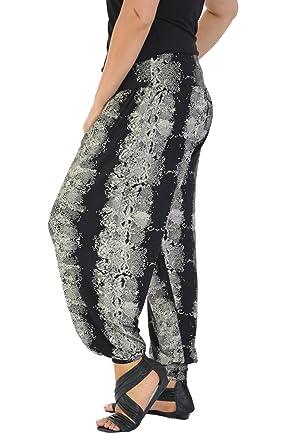 new womens plus size harem trouser snake skin print full length ali