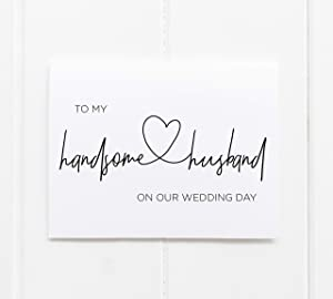 To My Handsome Husband On Our Wedding Day Card, Bride to Groom, Future Husband, Gift for Him