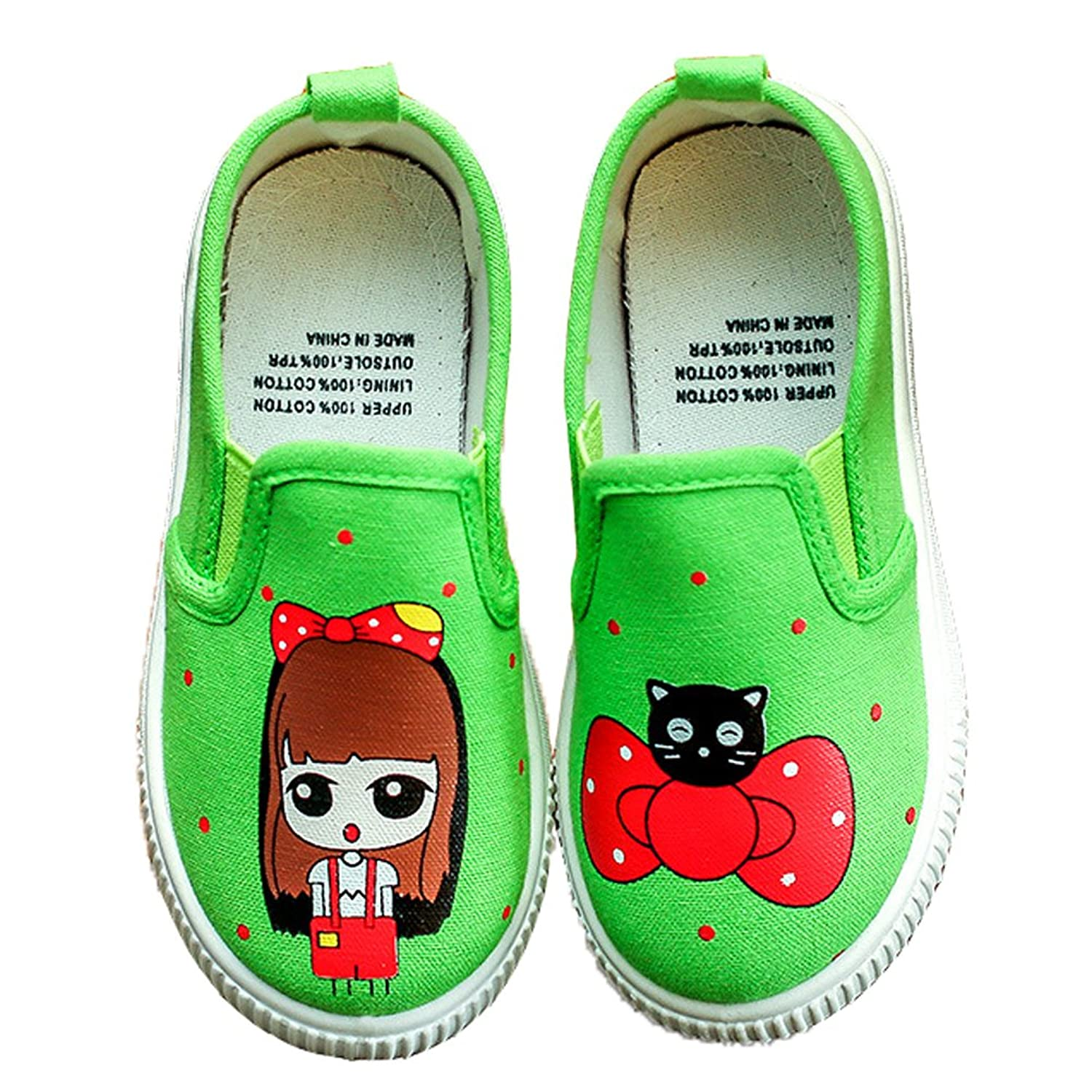 HiEase Girls Cute Cartoon Flats Loafers Slip On School Comfortable Canvas Shoes (Baby/Toddler/Little Kid)