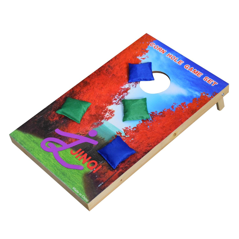 "LiRen-Shop 24""X15"" Wooden Corn Hole Set Toss Bean Bag Game with 2 Portable Game Platforms and 8 Toss Bags"