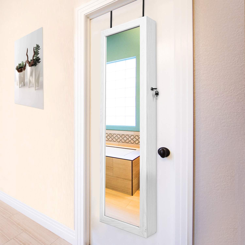 Bianco HOUSE DAY Gabinetto di Gioielli 6 LEDs Organizzatore di Gioielli in Armadio con Anta a Muro con Serratura a Specchio montata con Specchio a Figura Intera