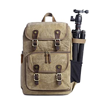 Camera Bag Canvas Slr Dslr Camera Backpack Large Capacity Front Open Waterproof