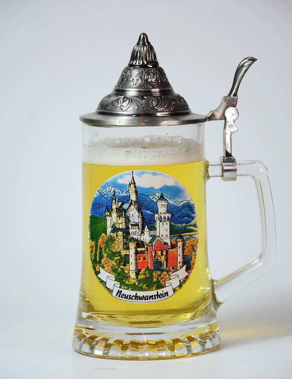 Amoy-Art Jarra de Cerveza Alemana con Estaño Tapa Hecho a Mano Regalo Souvenir Castillo Neuschwanstein Pintados Estándar de Seguridad Alimentaria Caja de Regalo 0.45 Litre