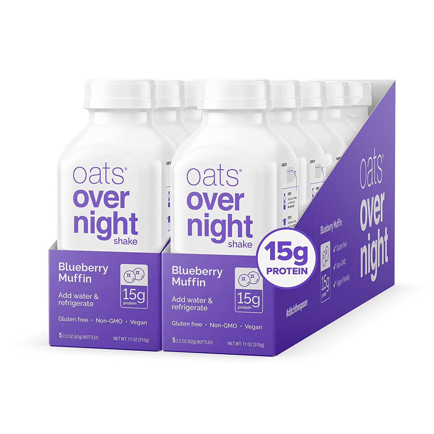 Oats Overnight Blueberry Muffin Bottled Shake - Gluten Free, Non-GMO, Vegan Friendly Breakfast Meal Replacement Shake with Powdered Oat milk. 15g of Protein (10 Pack)