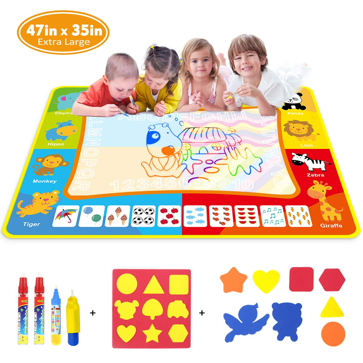 Doodle Mat - Funplus Large Size 47'' X 35'' of Water Drawing Mat for Kids with 4 Magic Water Pens and 17 Molds, No Mess Kids Educational Toy Gift Magic Painting Doodle Mat with Neon Colors for Toddler