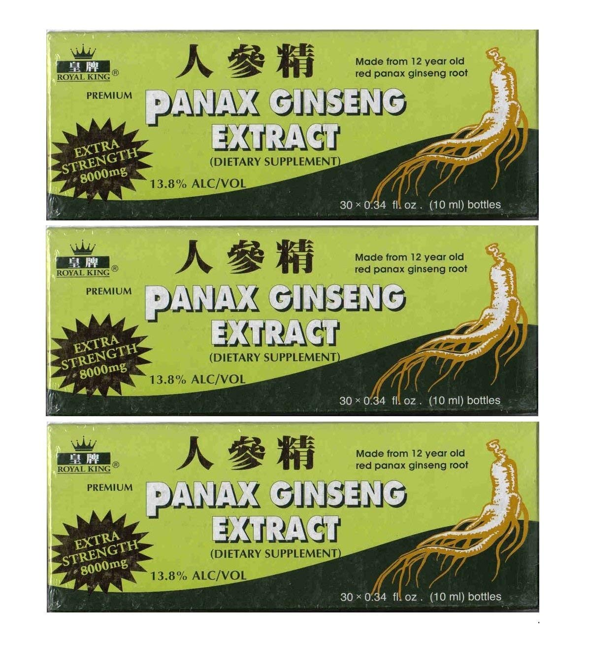 Royal King Panax Ginseng Extract With Alcohol 8000 mg 30 Vial 3 Boxes