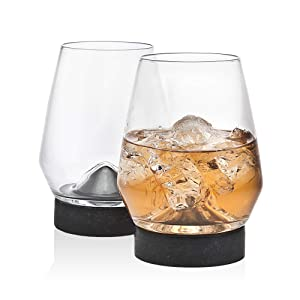 Godinger Whiskey Glass Tumbler and Cooling Stone Coaster - Set of 2