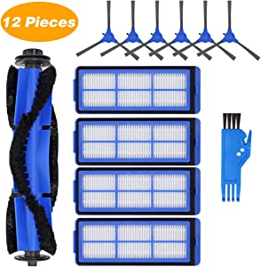 ABClife Replacement Parts for Eufy RoboVac 11S Max, Accessories Kit for RoboVac 15C Max 30C Max Robotic Vacuum Cleaner 12 Pack, Includes 4 Filters, 6 Side Brushes,1 Main Brush,1 Free Cleaning Brush