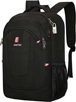Business Durable Laptop Backpack ~ Cute Bunny Backpack Black 17in X 12in X 6in Water Resistant College School Computer Bag Gifts for Men Women