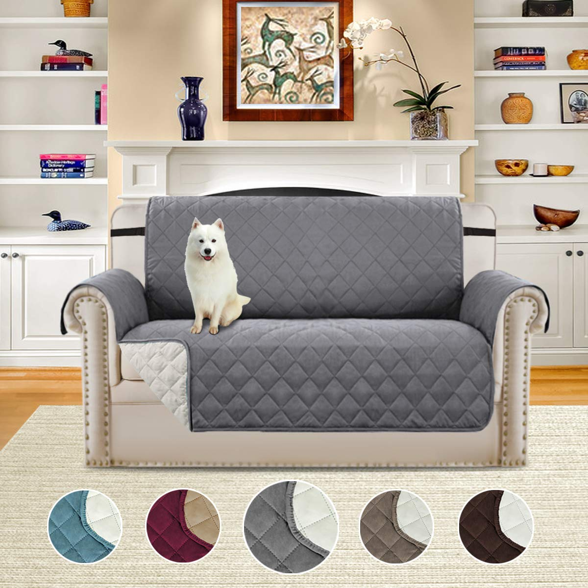 H.VERSAILTEX Plush Reversible Furniture Protector with Elastic Straps, Features Protect from Pets, Spills, Wear and Tear (Love Seat: Gray/Beige)-75'' X 90''