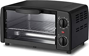 Dominion, 4-Slice Countertop Toaster Oven, Includes Bake Pan, Broil Rack, & Built-In Crumb Tray, Black, Adjustable Temperature Control, Heat Resistant Glass, Power Indicator Light, Easy to Clean, Ring Bell & Auto Shut-off