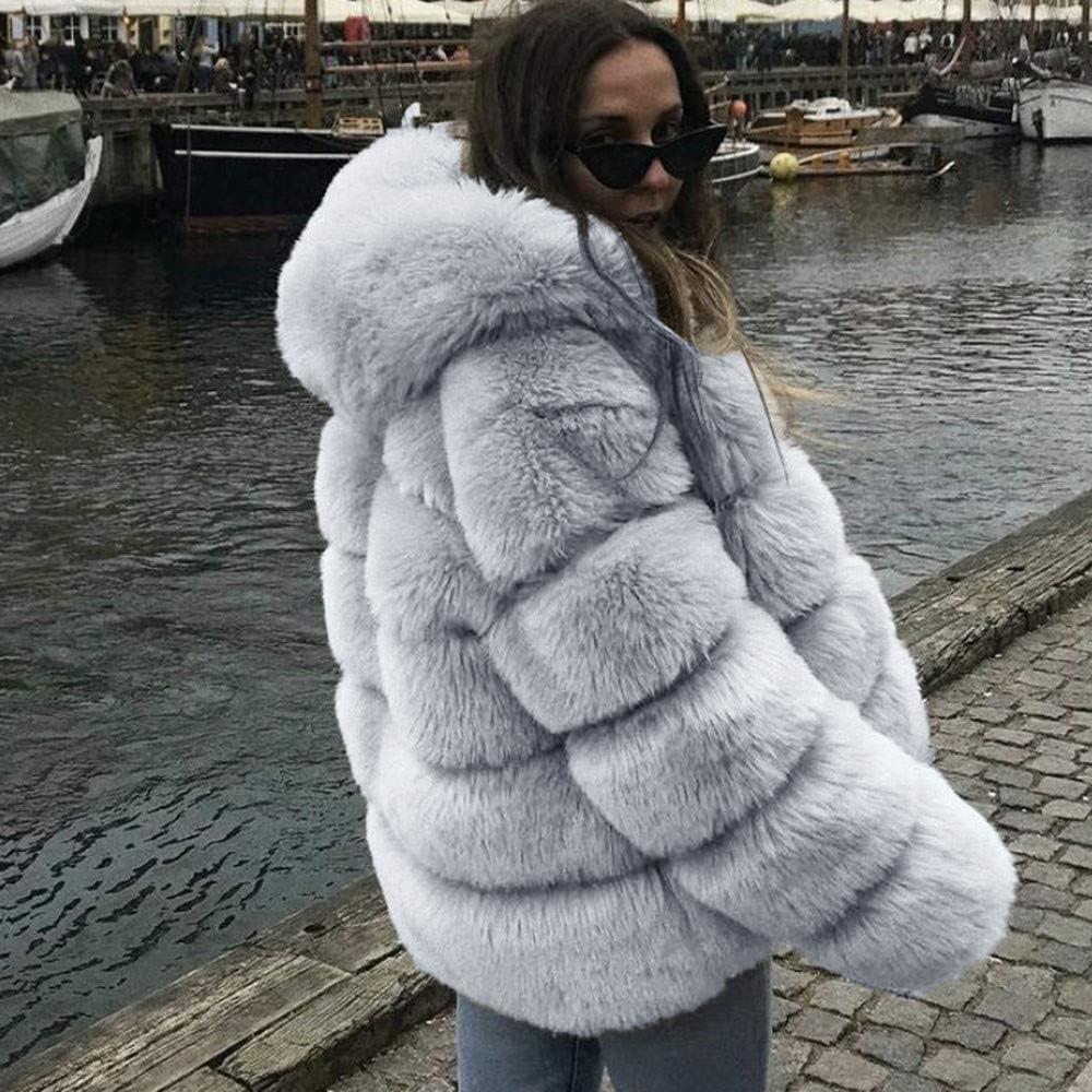 ManxiVoo Women Faux Fur Jacket Long Sleeve Open Front Hooded Cardigan Coat Warm Winter Fluffy Outwear Pockets