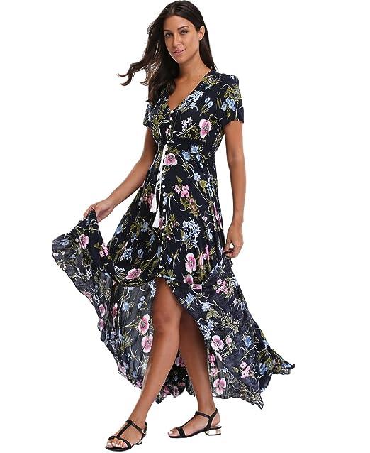 9762feb26d6 Summer Floral Maxi Dress Women Button Up Split Flowy Long Swing Boho Beach  Party Dresses at Amazon Women s Clothing store