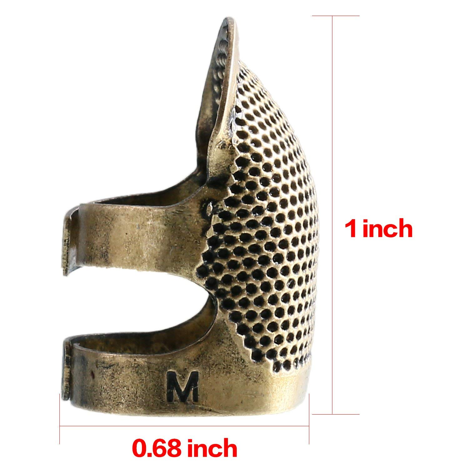 4 Pieces Medium Copper Finger Protector Thimble Adjustable Fingertip Thimble for Hand Sewing Embroidery Needlework