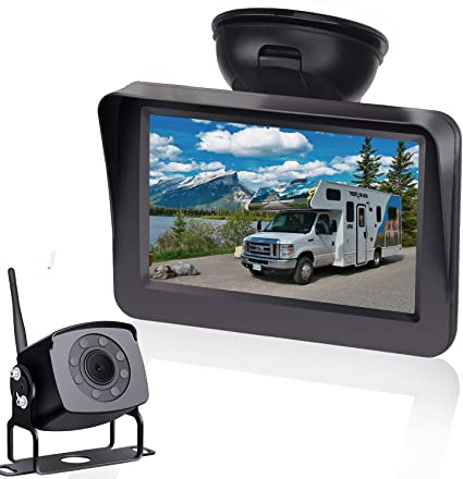 HD 720P Digital Wireless Backup Camera High-Speed Observation System for RVs//Trucks//Vans//Pickups//Trailers with 5Monitor Rear//Front View IP69K Waterproof Super Night Vision Continous//Reversing Use