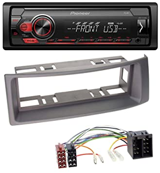 caraudio24 Pioneer MVH-S100UB USB AUX MP3 1DIN Autoradio f/ür Opel Corsa C ISO 2000-2004 Aluminium