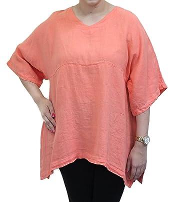 c646c67a0e5 Match Point Women's Coral Linen Kimono Tunic Oversized at Amazon ...