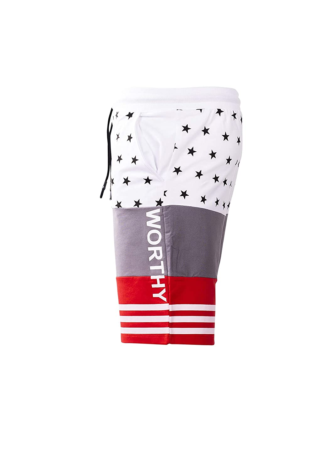 Worthy Mens Color Block Stars and Stripes Knit Short