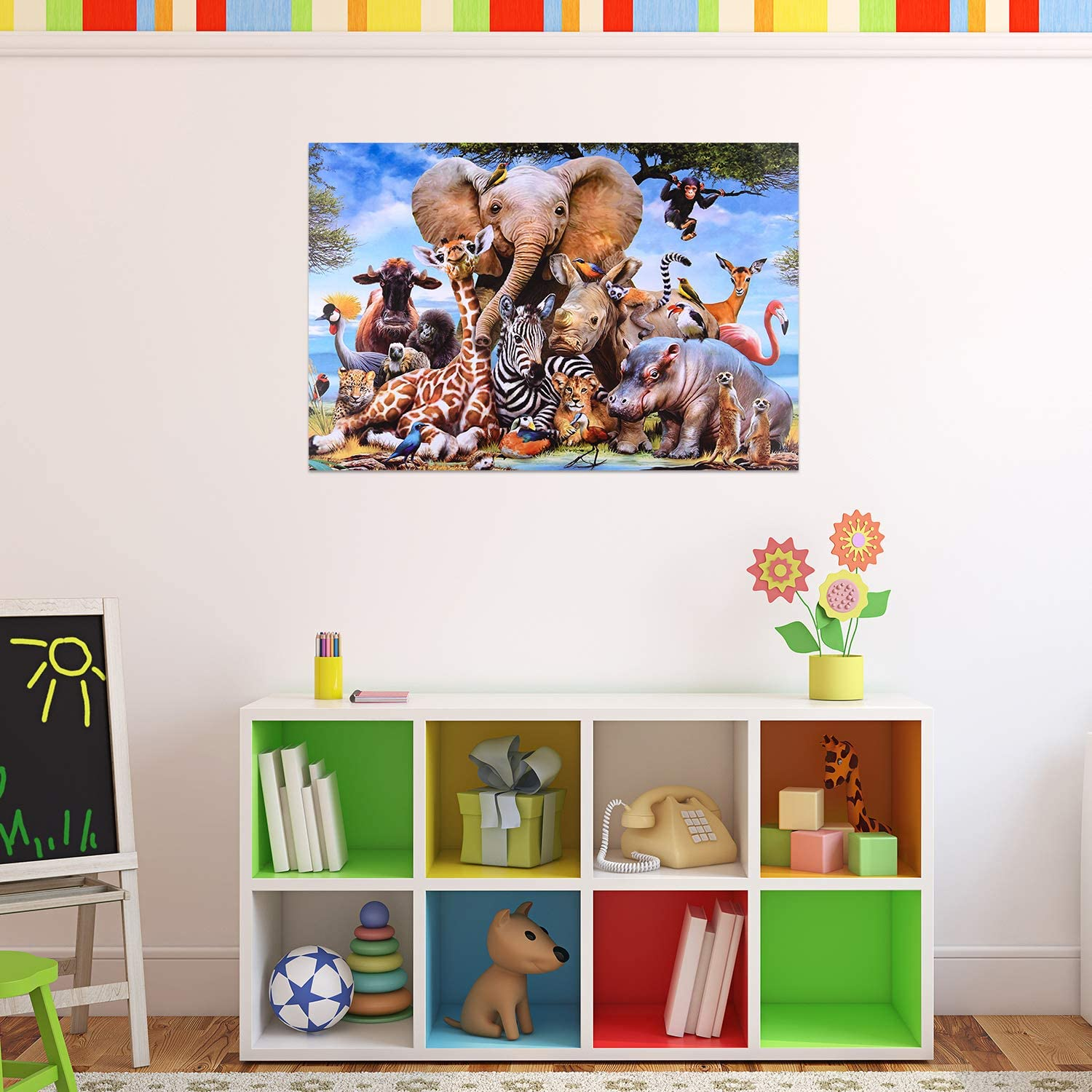 1000 Pieces Jigsaw Puzzles Large Puzzle Elephant Giraffe Jigsaw Puzzle 29.53x19.68 inches Animals Floor Puzzle for Adults and Kids Home Decor