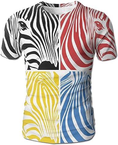Hombres 100% ecológicos Zebras Negras Zebra roja Zebra Amarilla Zebra Azul Zebra Camisetas de Manga Corta: Amazon.es: Ropa y accesorios