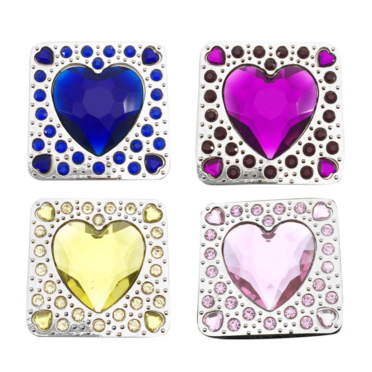 Reizteko Purse Hook,Square Shape Heart Love Rhinestone Foldable Handbag Purse Hanger Hook Holder for Tables (Pack of 4)