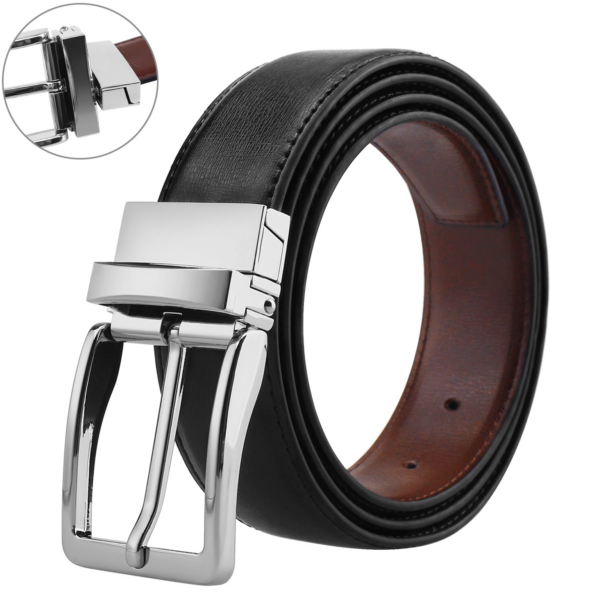 Belts for Men Genuine Leather Dress Belt Reversible with 1.3'' Wide Rotated Buckle