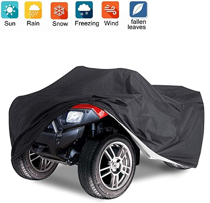 Universal All Weather ATV Cover Durable Quad Storage Protection for Honda//Polaris // Yamaha//Suzuki Waterproof Dust Sun Wind Proof Outdoor ATV UV Cover 2L, Black