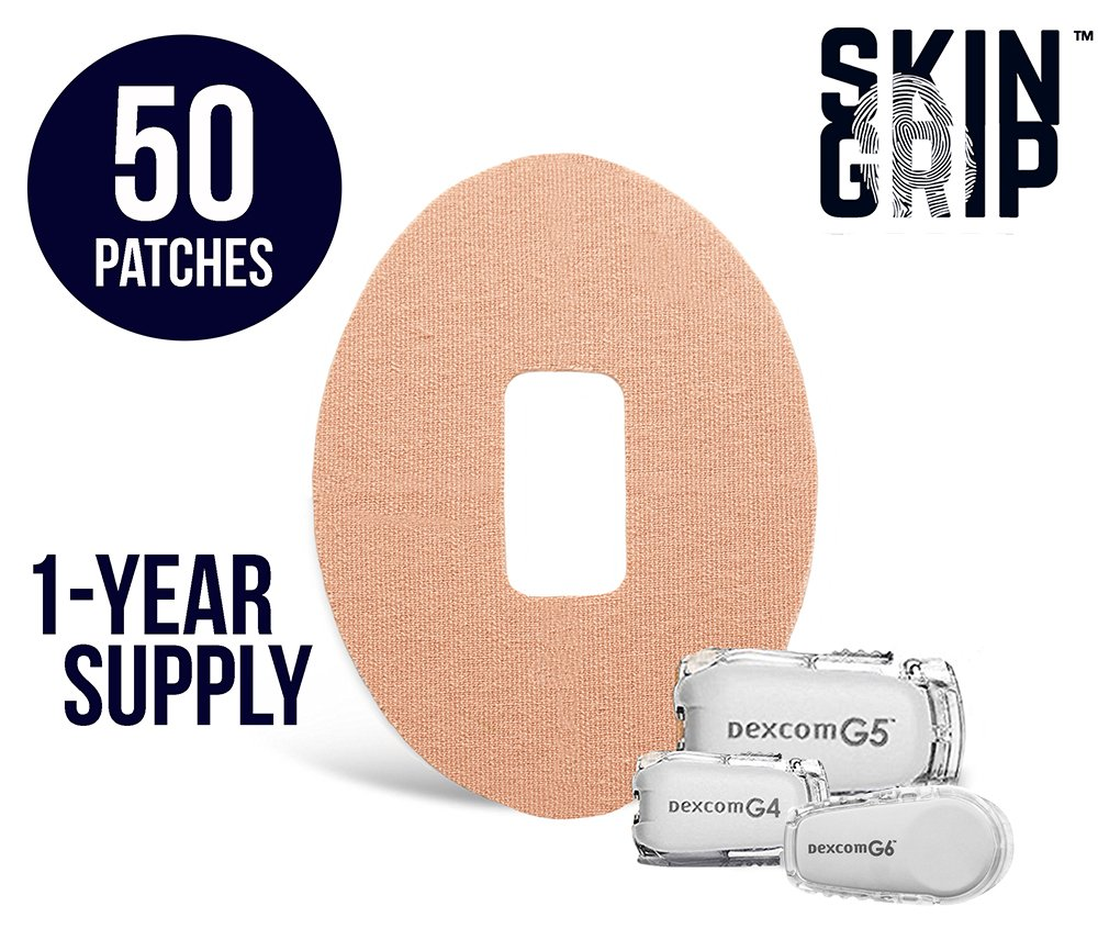 SKIN GRIP Adhesive Dexcom Patches 1-Year Supply [50-Pack] | Pre-Cut & Compatible With G4, G5 & G6 | Premium Constant Glucose Monitor Sensor Protection For Diabetics | Waterproof & Hypoallergenic