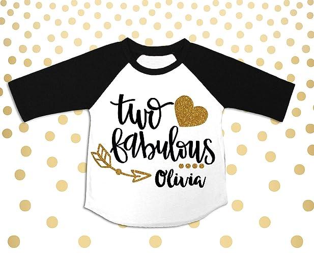 12bfc6a195875 Amazon.com: Two Fabulous Girls 2nd Birthday Raglan Girls 2nd ...