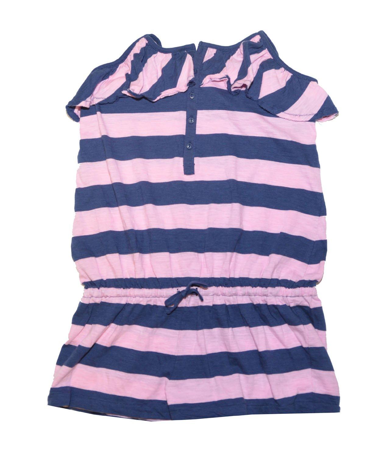 Ralph Lauren Girls Striped Ruffle Pony Logo Romper (M(8-10), Pink/navy)