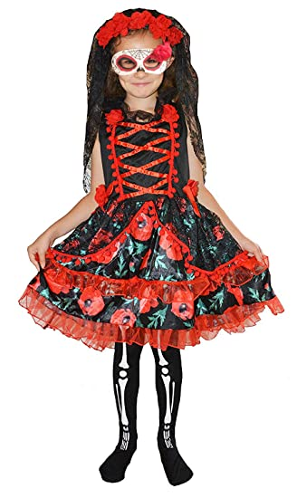 Toujours Jeunes Enfants Filles Jour De La Mort Squelette Zombie Mariée  Déguisement Costume Halloween 4-6 Ans  Amazon.fr  Vêtements et accessoires 8cc9f95f30c