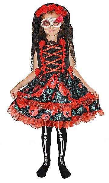 Forever Young Kids Girls Día de los Muertos Esqueleto Zombie Novia Disfraz Disfraz Halloween 10-12 años