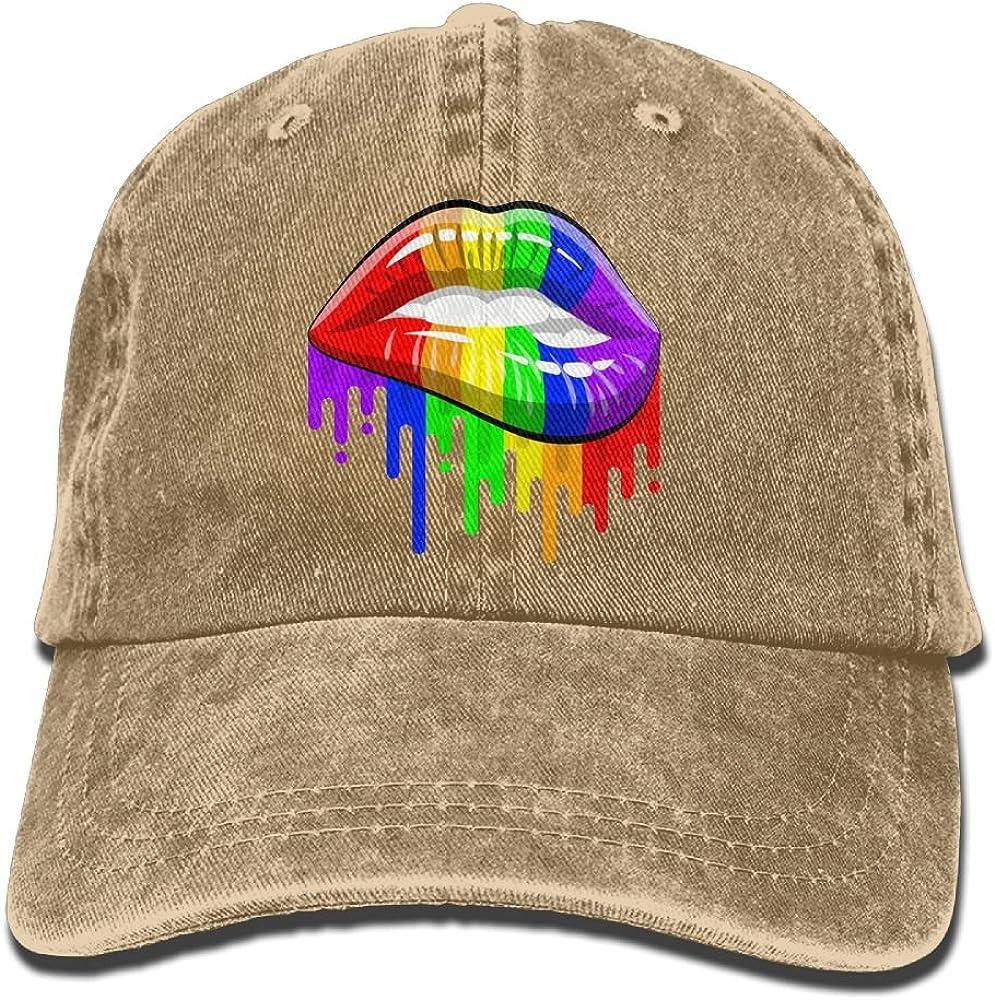 Lesbian Rainbow Lips Funny Washed Cap Adjustable Baseball Cap Dads Stetson Hat
